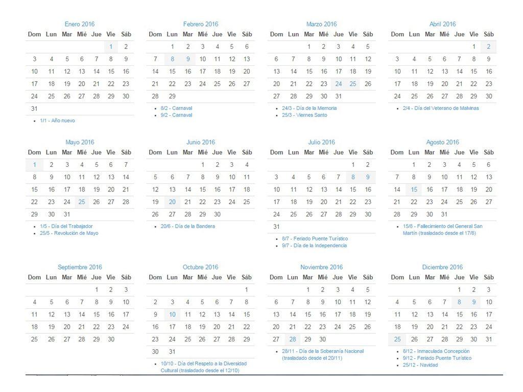 Calendario 2016 Argentina.Calendario De Feriados 2016 En Argentina