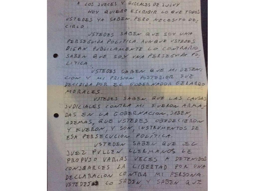 En una dura carta, Milagro Sala afirma que es presa política