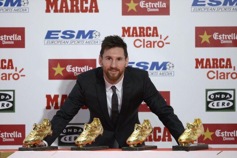 Messi recibió su cuarto Botín de Oro como máximo goleador de las ligas europeas