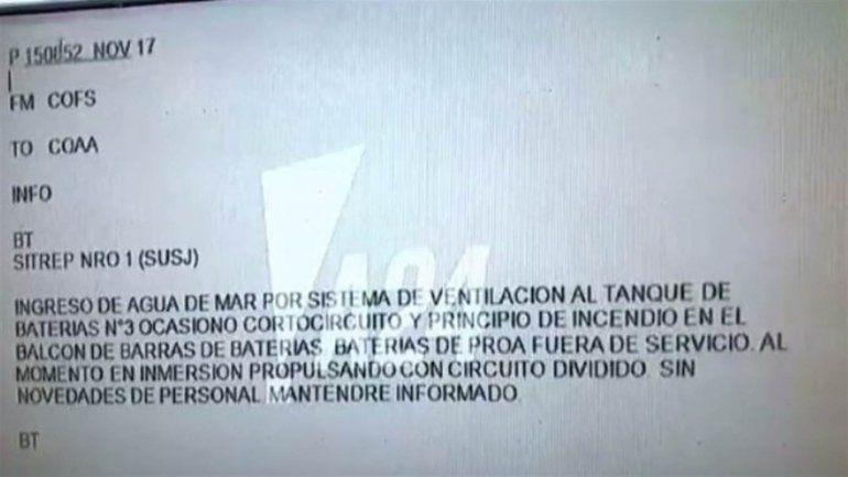 Ingreso de agua por el sistema de ventilación, el último mensaje del ARA San Juan
