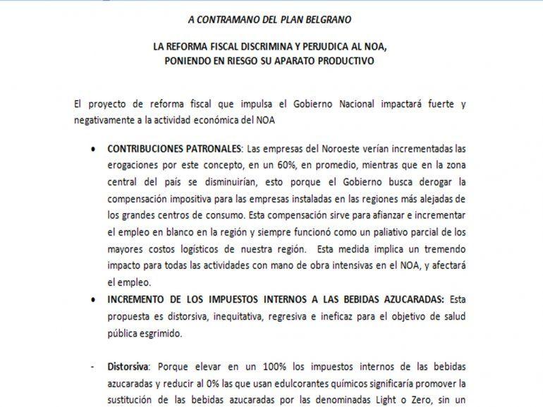 La reforma fiscal discrimina y perjudica al NOA, poniendo en riesgo su aparato productivo