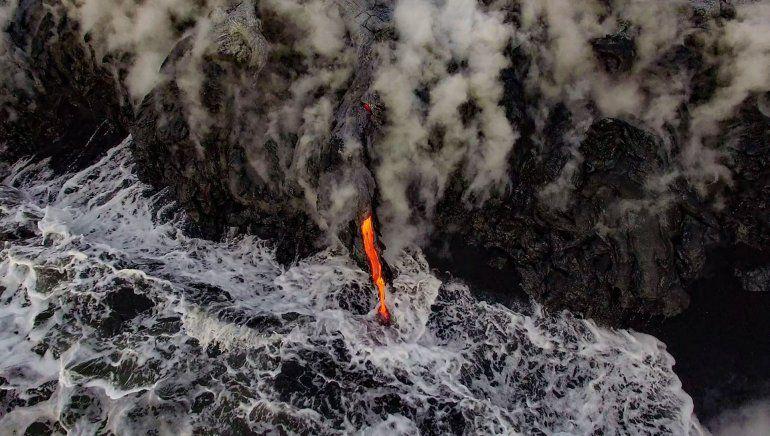 Un flujo de lava en los flancos del volcán Kilauea