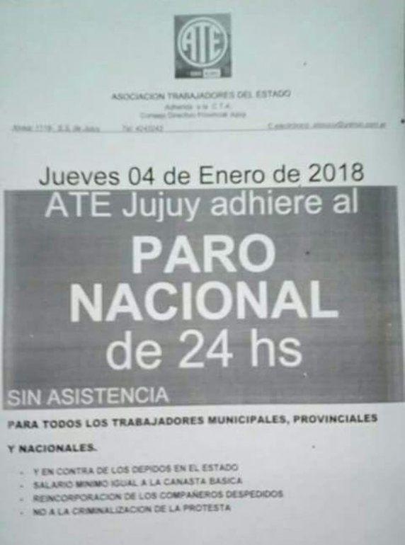 Paro de ATE sin asistencia mañana jueves, en contra de los despidos a nivel nacional