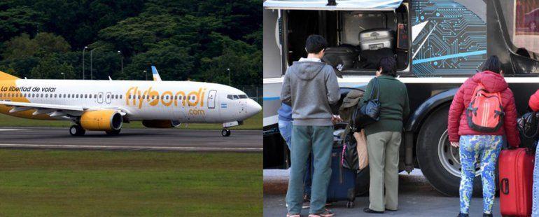 FlyBondi: personas en el avión y 2 mil kilos de equipaje viajaron por tierra