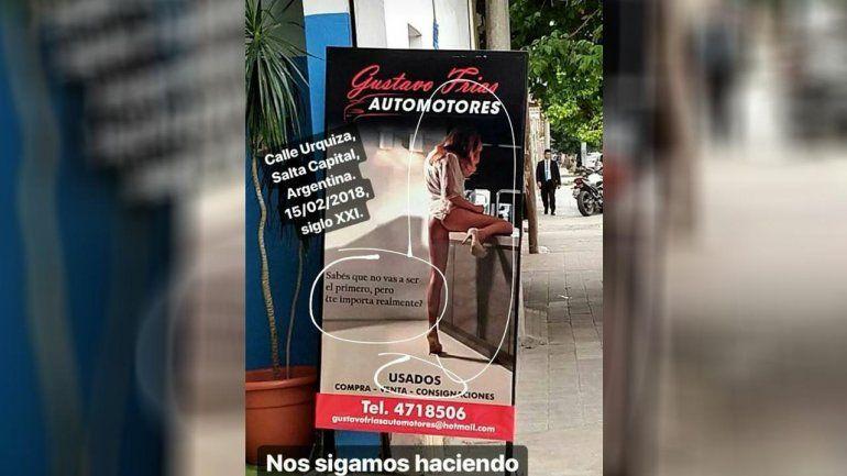 Fuerte repudio en las redes a una publicidad de un local de venta de autos en Salta que involucra la imagen de una mujer