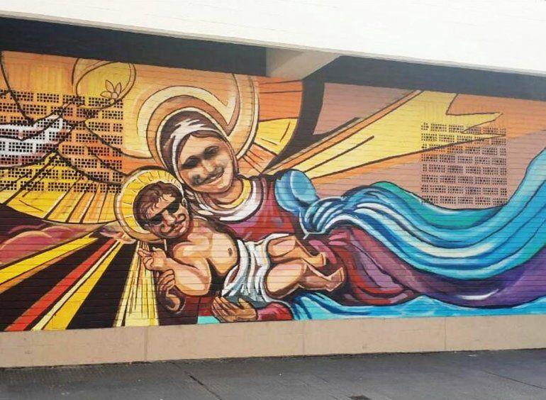 Grafitearon el mural del Colegio del Huerto y buscan a los responsables