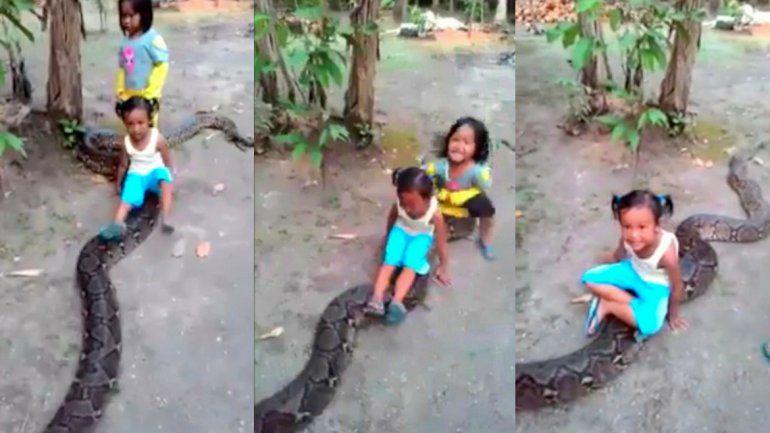 El juego viral de dos niñas pequeñas con una serpiente pitón