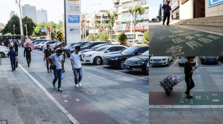 Inauguran en China un carril exclusivo para personas que caminan mirando el celular