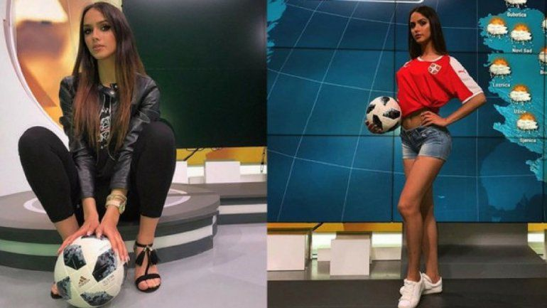 La chica del clima de la televisión serbia la rompe haciendo jueguitos con la pelota y es furor