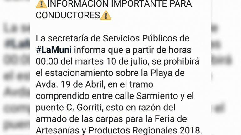 Desde el martes a las 00 no se podrá estacionar en un tramo de la Av. 19 de Abril