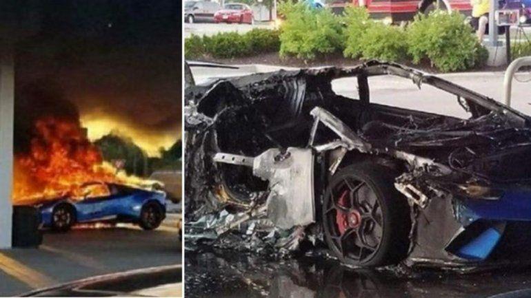 Increíble: por un descuido quemó un Lamborghini en una estación de servicio
