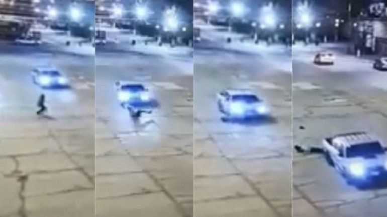 Impactante video que muestra cómo una mujer se resbala y es atropellada por una camioneta