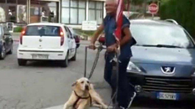 La enternecedora historia del hombre que pasea a su perro en un carro porque no puede caminar
