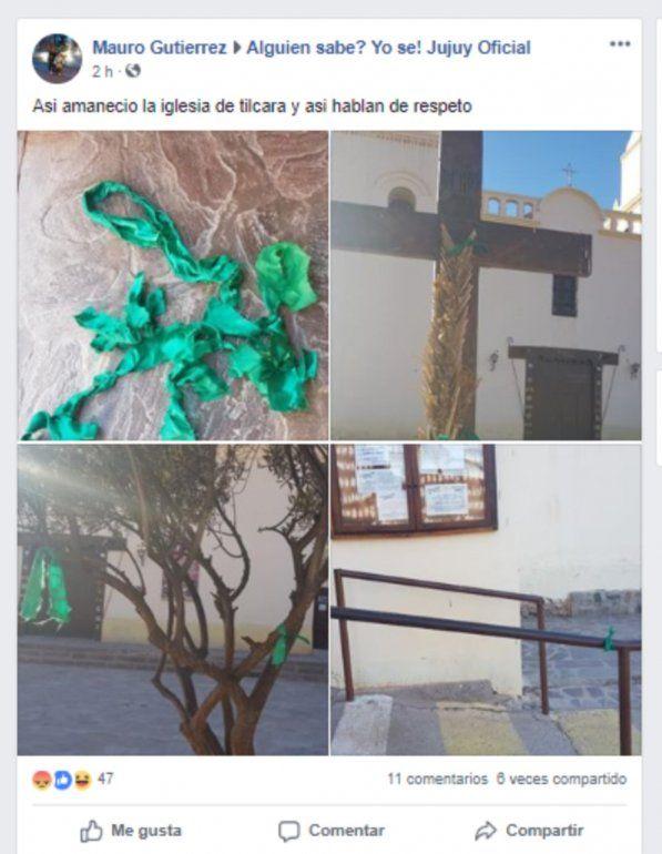 La Iglesia de Tilcara apareció con pañuelos verdes y estalló el debate en las redes