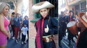 Talento jujeño: Tinelli publicó un video de un niño cantándole a Fáti Herrera en el centro