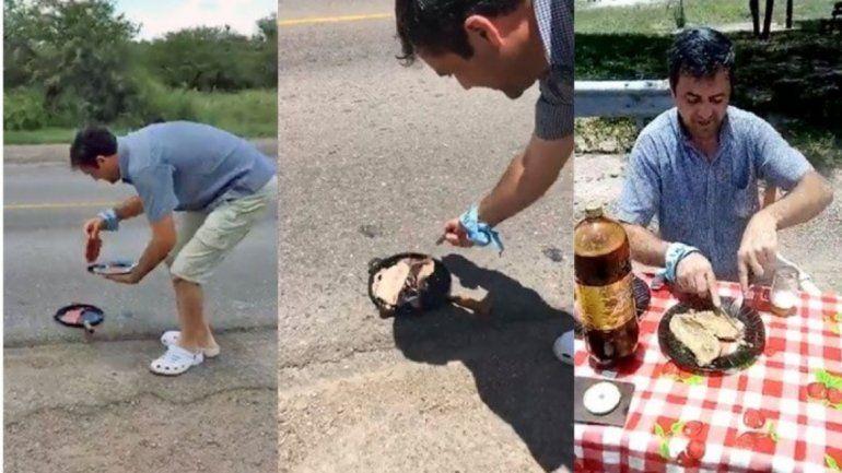 Aprovechó el calor en Santiago del Estero y cocinó unos bifes en el asfalto de la Ruta 34