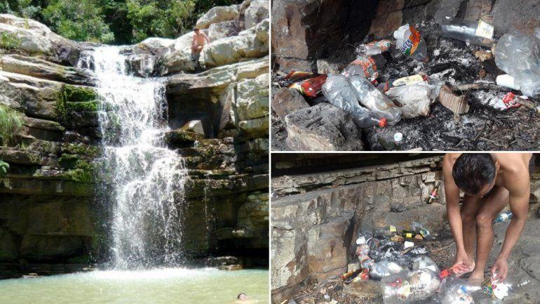 Cascada de las Escaleras: visitaron el lugar, estaba lleno de basura y la recolectaron para dejarlo limpio