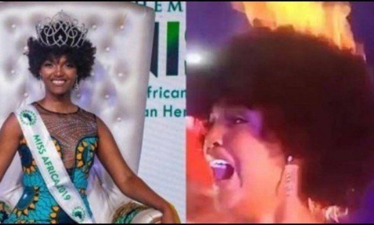 A Miss África se prendió fuego el pelo en el momento de la coronación