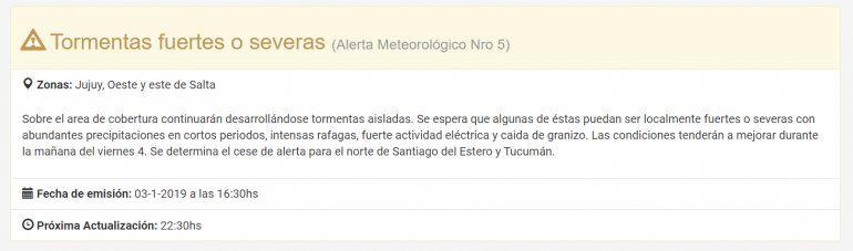 Sigue la lluvia en Jujuy: continúa el alerta meteorológico y pronostican precipitaciones hasta el domingo