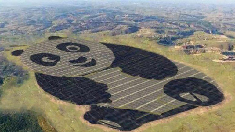 China construyó una planta de energía solar con forma de panda