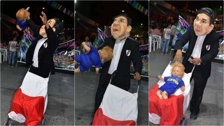 Las cargadas llegaron a San Pedro: el Muñeco Gallardo desfiló con su bebé bostero