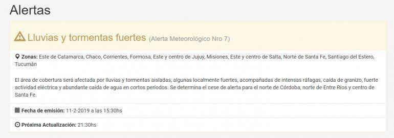 Anuncian fuertes lluvias y tormentas para el centro y el este de Jujuy