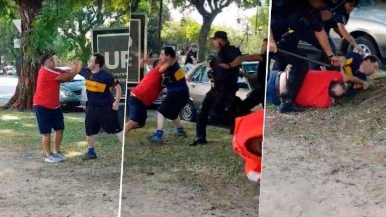 Salió a entrenar con la remera de Boca y cuando pasó por la cancha de River lo agarraron a las piñas