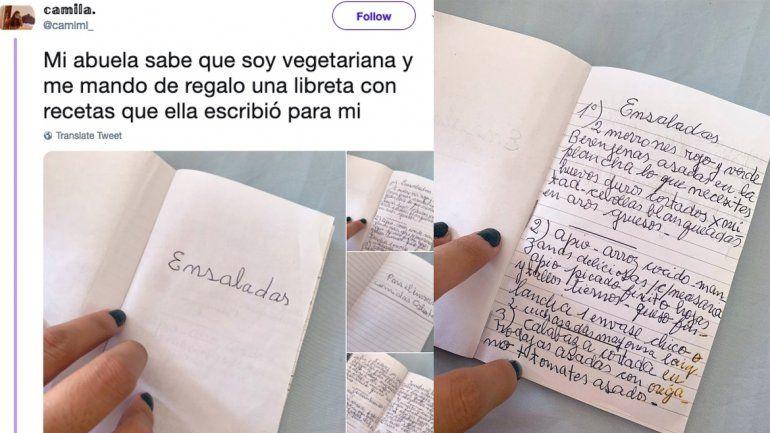 Una abuela le escribió un cuadernito con recetas a su nieta vegetariana