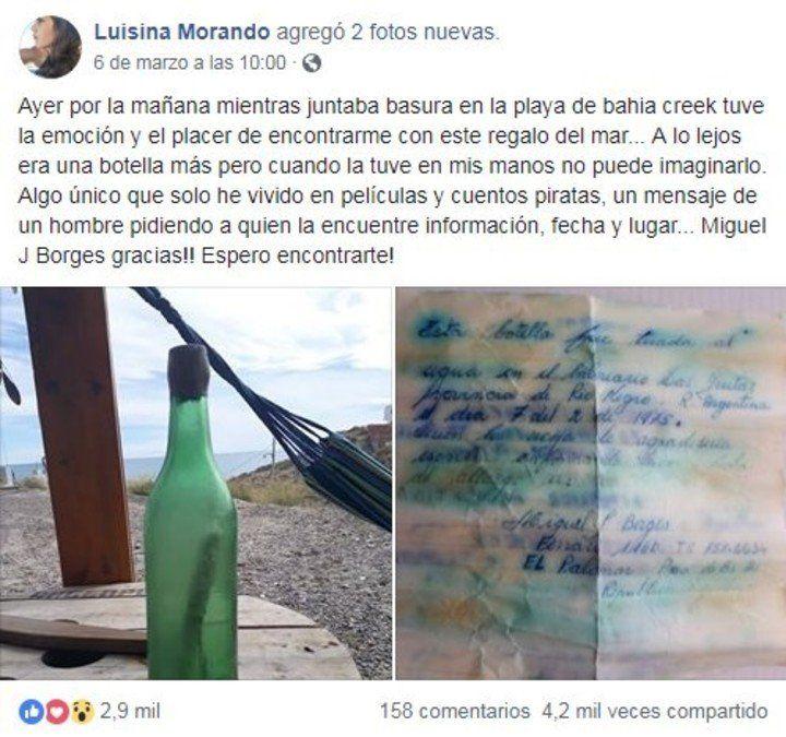 Río Negro: encontró un mensaje en una botella y buscó a quien la había arrojado al mar 44 años atrás