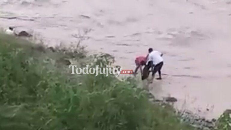 ¡Desalmados! Dos hombres arrojan a un perro a las caudalosas aguas del Río Grande