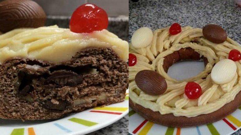 ¡Una delicia! Rosca de pascua rellena de chocolate