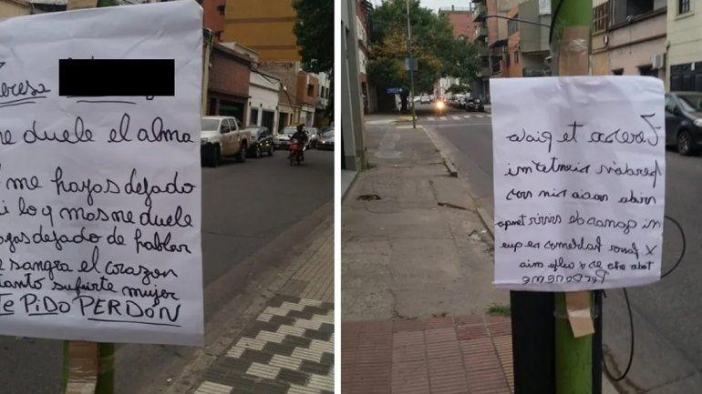 Me duele el alma: enamorado ruega perdón con carteles en Tucumán