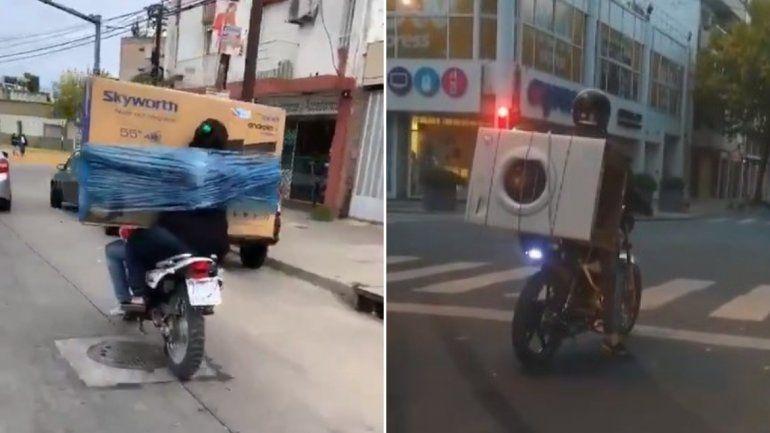 ¡Insólito! Se ataron un Smart TV y un lavarropas para llevarlos en la moto