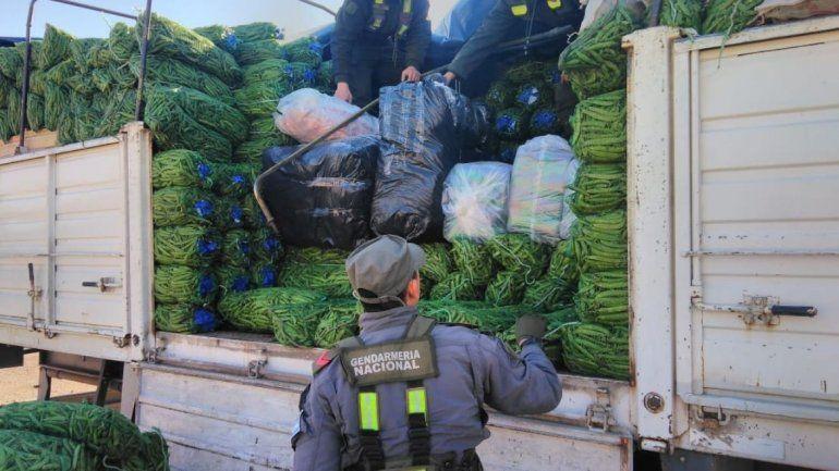 Secuestraron 90 kilos hojas de coca y ropa de contrabando ocultas en una carga de chauchas
