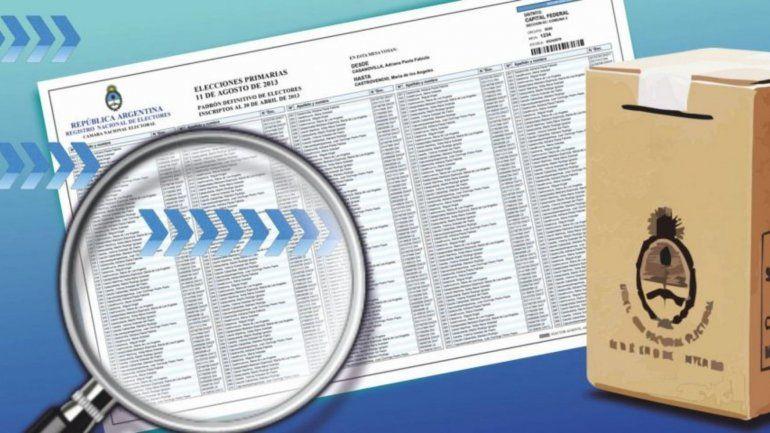 Con cambios, se publicó el padrón para las PASO del 11 de agosto