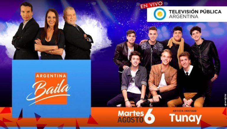 Tunay va a estar tocando mañana en Argentina Baila que se emite por la TV Pública