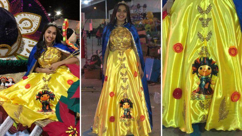Llamativo bordado en el vestido de la Reina del Modelo de Palpalá