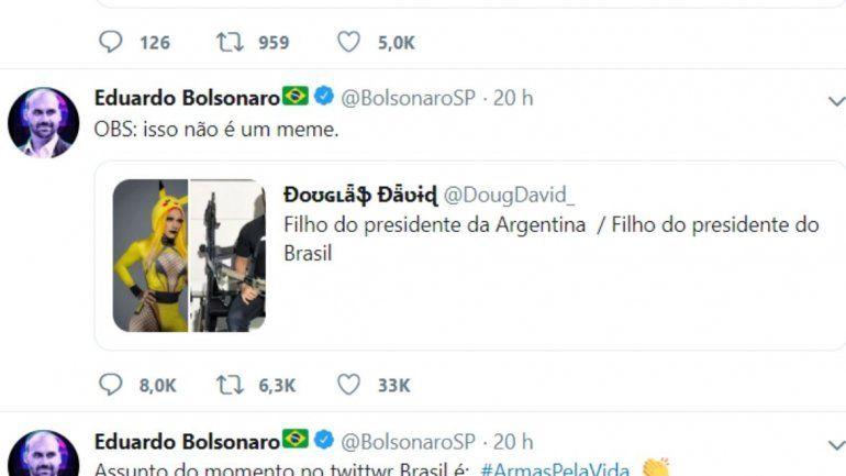 El hijo de Jair Bolsonaro se comparó con Estanislao Fernández
