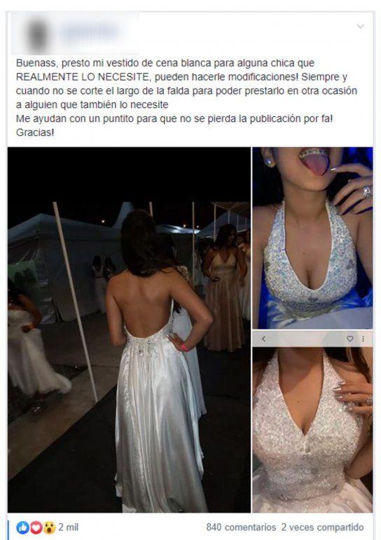 Solidaridad en la Cena Blanca: una chica presta su vestido a quien lo necesite