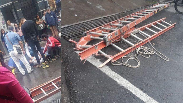 Trabajaba a más de 5 metros, se le rompió la escalera y cayó