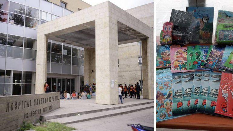 Un vendedor de diarios donó al Hospital de Niños una caja con cuentos y libros para colorear