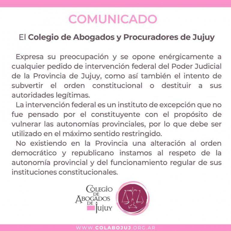 Intervención al Poder Judicial de Jujuy: El Colegio de Abogados expresó preocupación