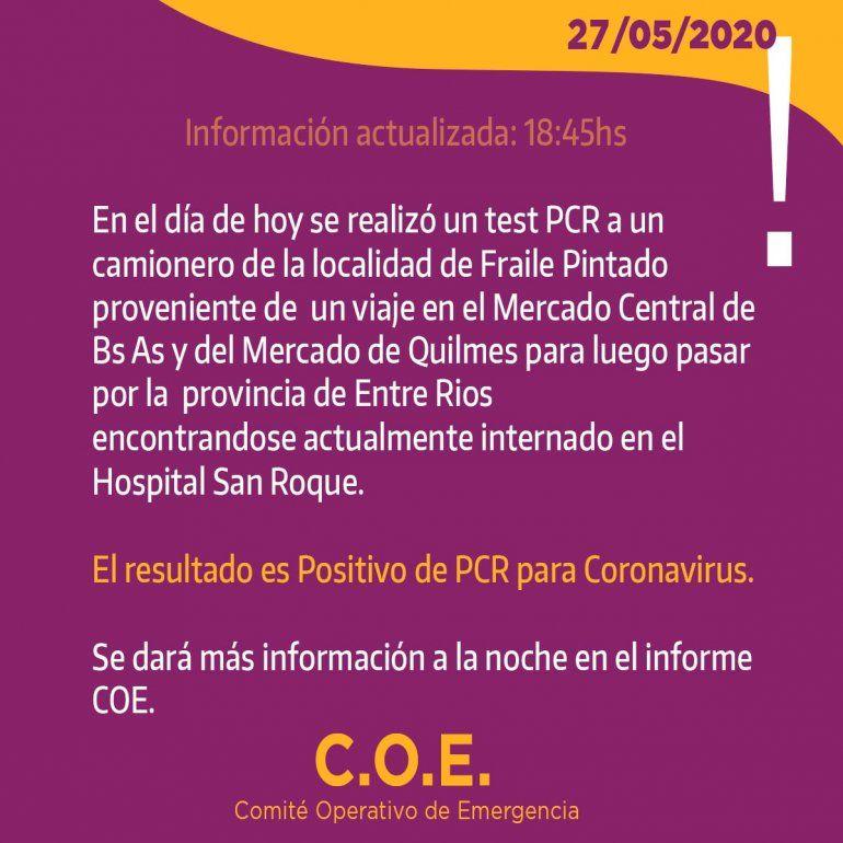 Coronavirus en Jujuy: un camionero jujeño proveniente de Entre Ríos dio positivo en un test PCR