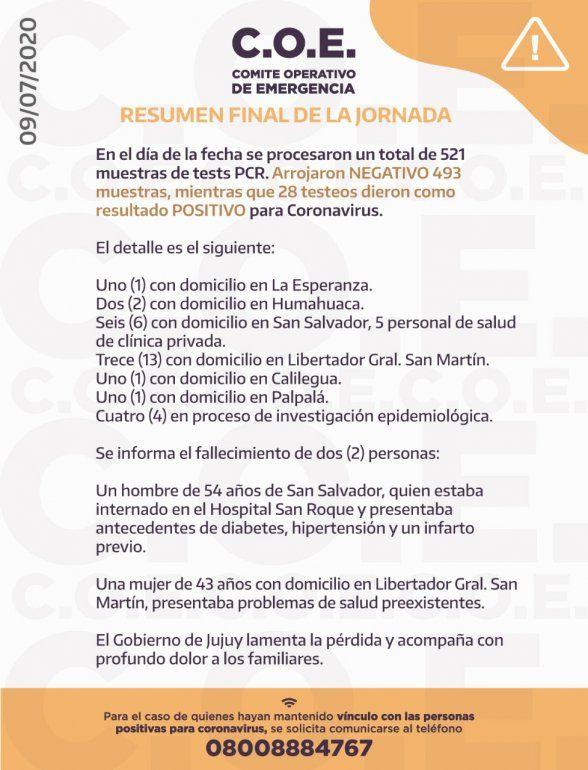Informe del Comité Operativo de Emergencia - 9/7/2020