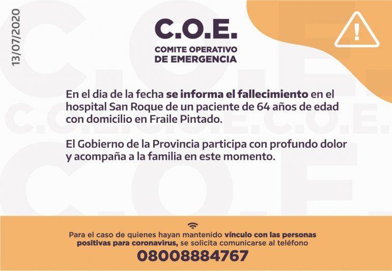 Coronavirus en Jujuy: falleció un hombre de 64 años de Fraile Pintado