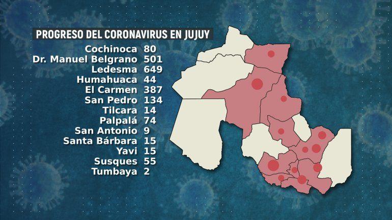 Mapa contagios Jujuy - Casos coronavirus