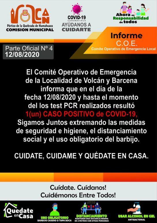 Coronavirus: confirman el primer caso en Volcán