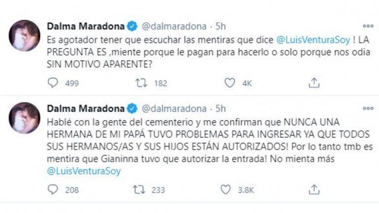 Dalma negó haber dejado afuera del entierro a una hermana de Diego