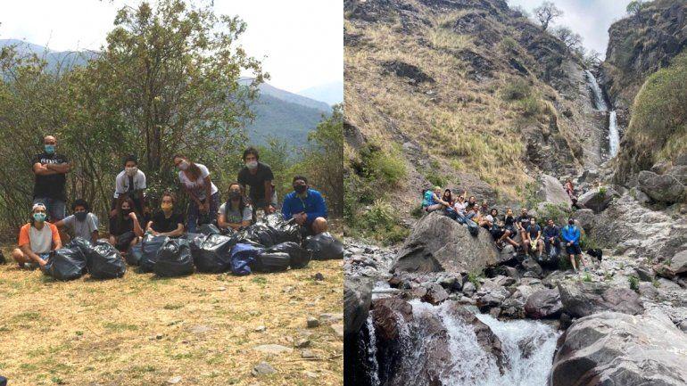 Un grupo de amigos levantó la basura de la cascada La Horqueta