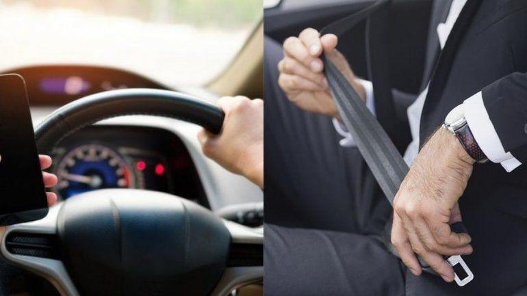 Irresponsabilidad: con celular y sin cinturón de seguridad al volante